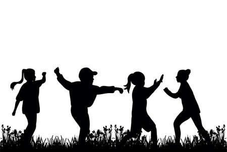 Illustration pour silhouette of children playing on the grass - image libre de droit