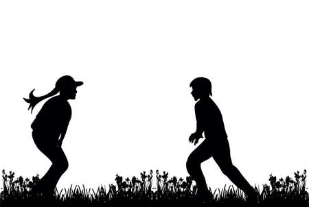 Illustration for silhouette of children play and run on grass - Royalty Free Image