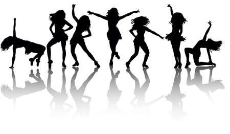 Illustration pour silhouette of a sexy girl dancing big collection - image libre de droit