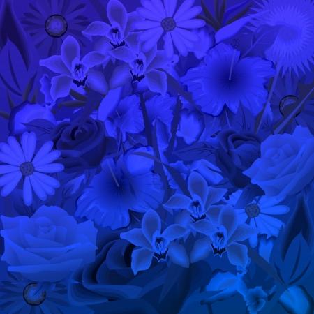 Dark blue background, illustration