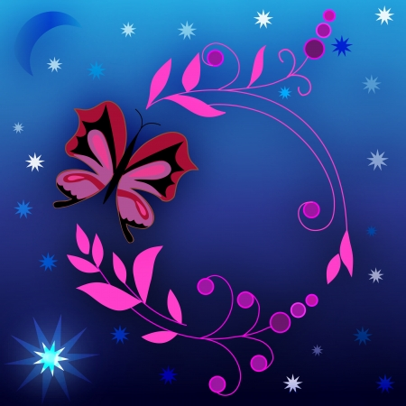 Floral design and a blue background with stars