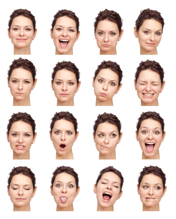 Photo for brunette beautiful young caucasian woman collection set of face expression like happy, sad, angry, surprise, yawn isolated on white - Royalty Free Image