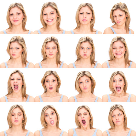 Foto de long hair blonde young casual caucasian woman collection set of face expression like happy, sad, angry, surprise, yawn isolated on white - Imagen libre de derechos