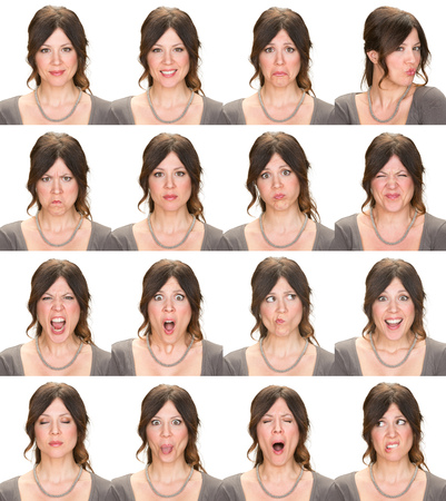 Photo for long hair brunette adult casual elegant caucasian woman collection set of face expression like happy, sad, angry, surprise, yawn isolated on white - Royalty Free Image