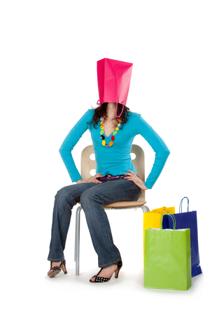 Foto per colorful young beautiful busy girl shopping sale life style isolated - Immagine Royalty Free