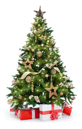 Christmas tree with lights and gifts isolated on white