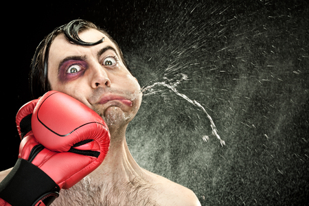 black eye wound boxer spit due big punch hit portrait