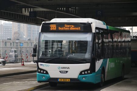 Local bus at the station of Den Haag Centraal number 8797 of Arriva without service, in Dutch sorry geen dienst