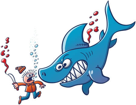 Underwater scene featuring a furious big blue shark which shows its sharp teeth while fighting back and sinking the scared finner who has just tried to cut and remove its dorsal fin with a knife