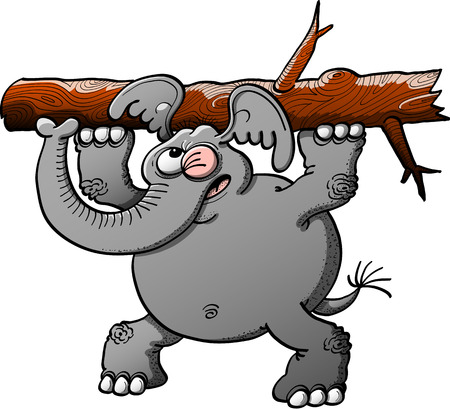 Strong gray elephant making a big effort to lift a tree trunk with its forelegs while winking, keeping balance with its hind legs and showing worried