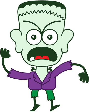 Green monster in minimalist style with a stitched wound on his head, bolts through his neck, funny hairstyle, yellow eyes, purple jacket and green pants while frowning, yelling and protesting firmly