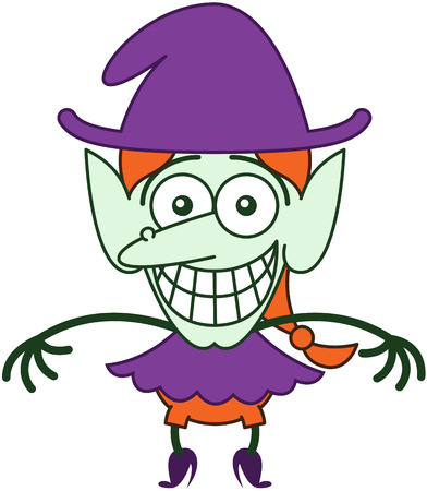 Funny red-haired witch with purple clothes and hat, big nose, pointy ears and green skin while staring at you, posing and grinning in a very embarrassed mood
