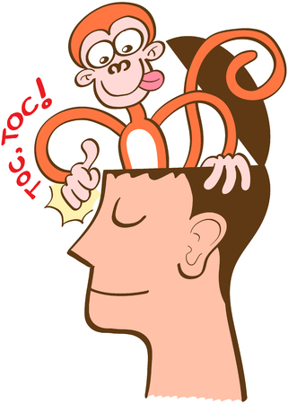 Illustration pour Mischievous monkey going out of the head of a man in meditation. The monkey is knocking on the front of the man's head. The man keeps meditating, perfectly serene and half-smiling - image libre de droit