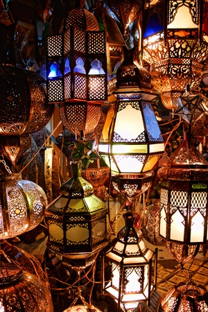lamps in a store in marrakesh morocco