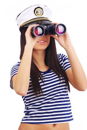 Woman looking through binoculars isolated on white