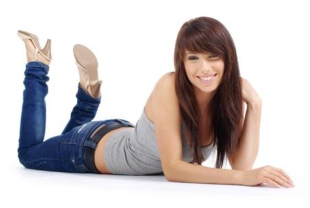 Foto de Beautiful girl in blue jeans - Imagen libre de derechos