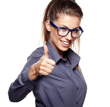 Foto de portrait of attractive caucasian smiling woman isolated on white studio shot looking at camera  - Imagen libre de derechos
