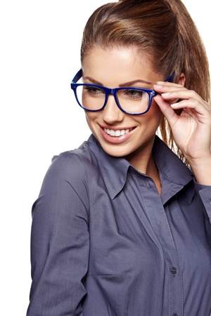 business woman in glasses の写真素材