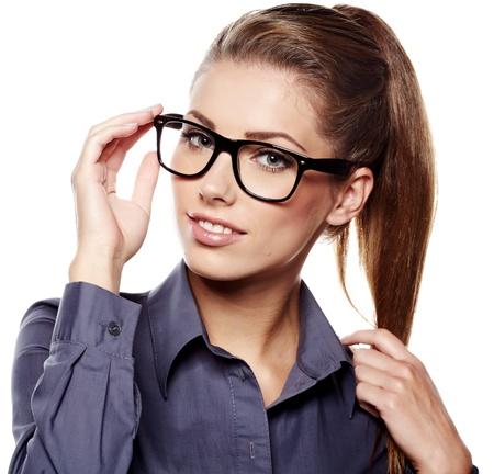 Photo pour business woman in glasses  - image libre de droit