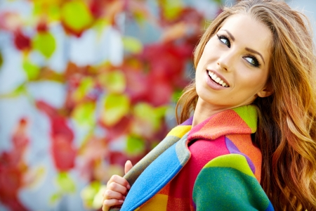 Photo for Woman in autumn  city  - Royalty Free Image