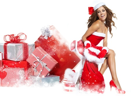 beautiful sexy girl wearing santa claus clothes の写真素材