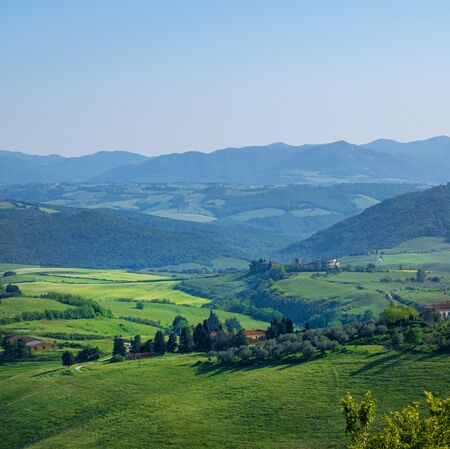 Photo for Typical Tuscany landscape with hills, green trees and houses, Italy. - Royalty Free Image