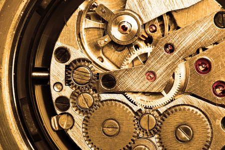 Clockwork macro sepia toned