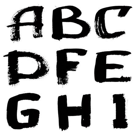 Hand written black ink alphabet over the white background