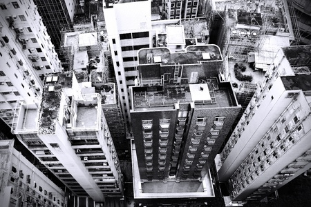 District at Hong Kong, view from skyscraper. Black and white image/