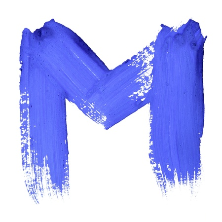 M - Blue handwritten letters over white background