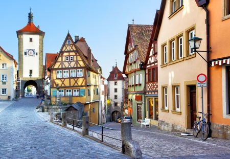 Old street in Rothenburg ob der Tauber, Bavaria, Germany