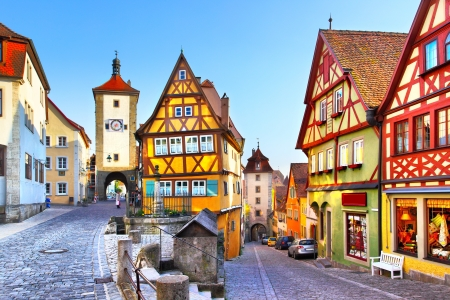 The most famous street in Rothenburg ob der Tauber, Bavaria, Germany
