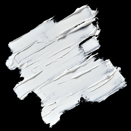 Photo pour White oil paint textured brush strokes isolated on black background - image libre de droit