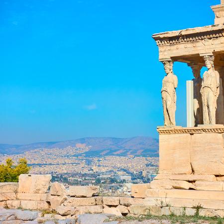 Foto de The Porch of The Caryatids on The Acropolis in Athens, Greece. Space for text - Imagen libre de derechos