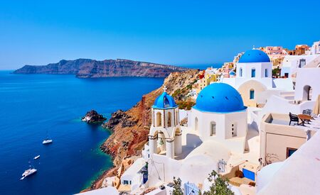 Photo for View of Oia town in Santorini island in Greece -- Greek landscape - Royalty Free Image