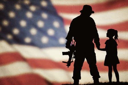 Foto per American soldier and little girl silhouette - Immagine Royalty Free