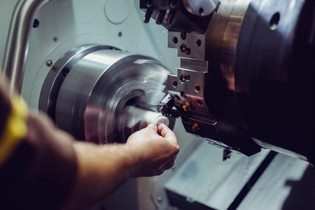 Photo pour Close up CNC milling machine working process on metal industry - image libre de droit