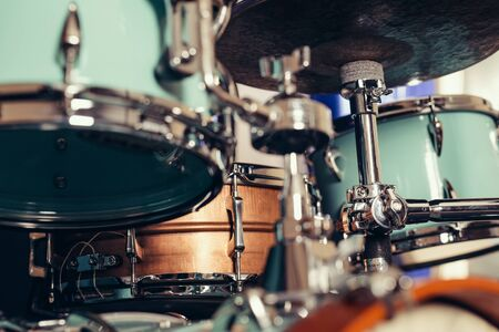 Foto de Detail of a drum kit closeup . Drums on stage retro vintage picture. - Imagen libre de derechos