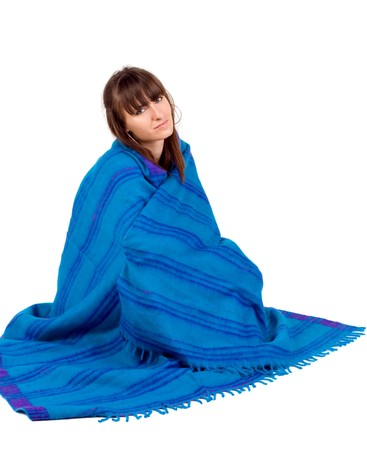 Girl in ethnic shawl