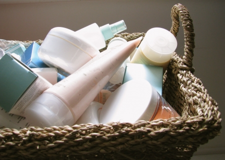 Photo for skin care products in basket - Royalty Free Image