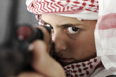 Kid warrior, soldier, shooting, rifle, toy (mixed race)