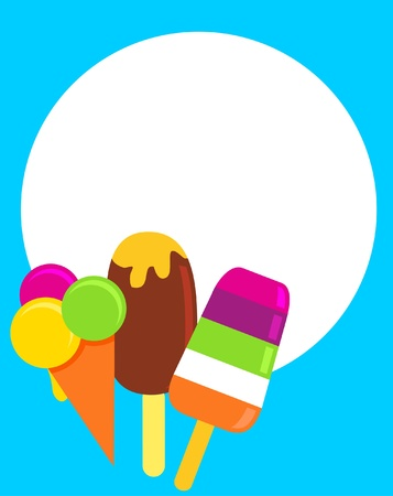 colorful ice-creams, vector illustration with a place for your text