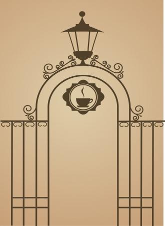 Ancient gate of restaurant or bar , vector illustration
