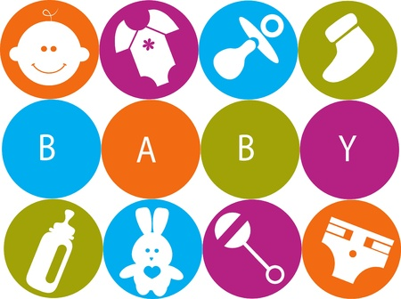 Illustration pour newborn baby card with baby accessories , vector illustration - image libre de droit