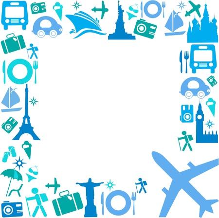 Illustration pour Frame with Travel icons - image libre de droit