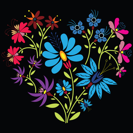 Ethnic folk floral pattern in heart shape on black background