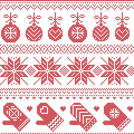 Scandinavian Nordic seamless Christmas pattern