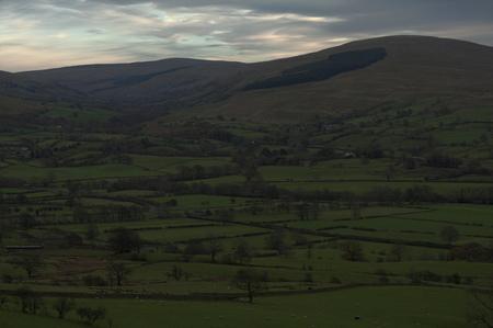 Yorkshire Dales landscape in autumn dusk