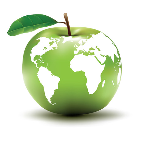 Illustration for environmental earth concept / apple / globe / vector - Royalty Free Image