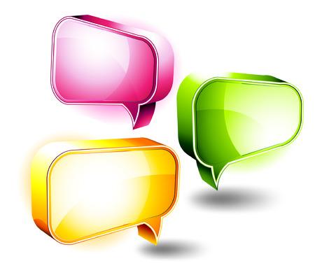 Illustration pour D Icons: Shiny Chat Boxes - image libre de droit